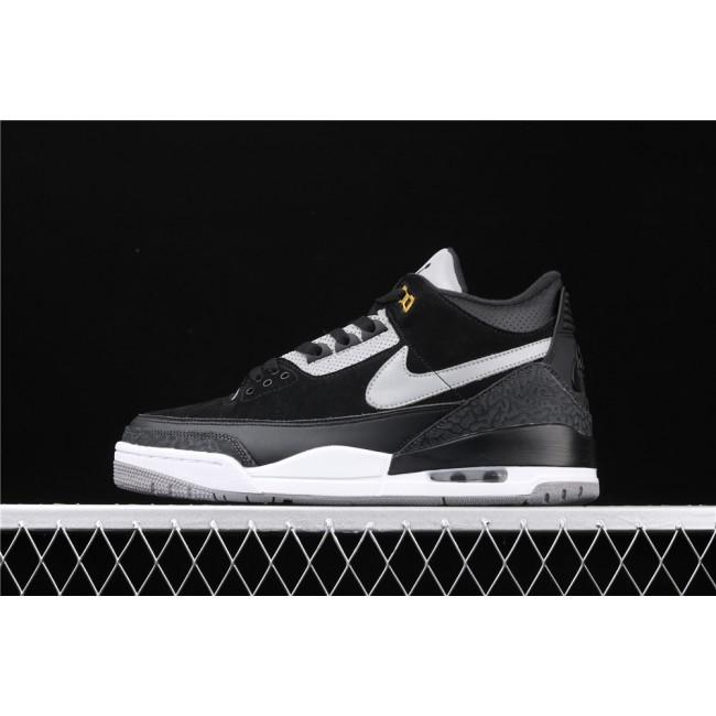 Men Air Jordan 3 Black Cat 3M In Black White