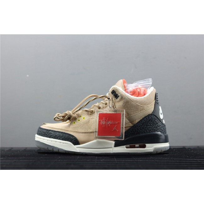 Men Air Jordan 3 JTH Tinker In Sand Black