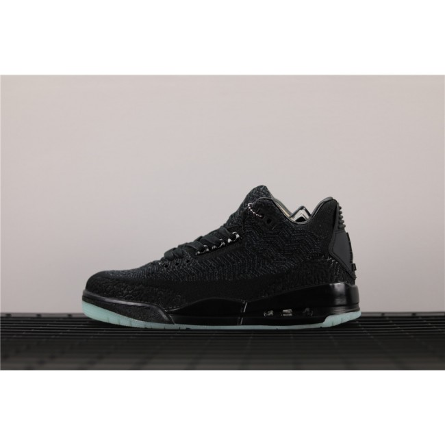 Men Air Jordan 3 Low Flyknit Luminous In Dark Gray Black