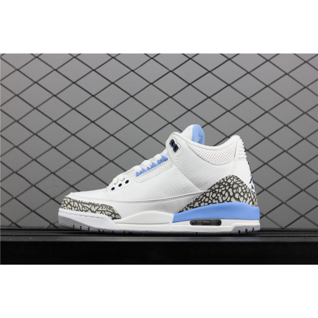 Men Air Jordan 3 UNC PE Burst In White Blue