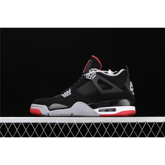 Men & Women Air Jordan 4 Bred In Black White Red
