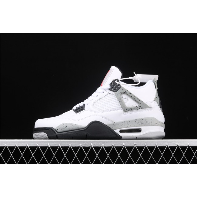 Men & Women Air Jordan 4 White Cement In Gray Black