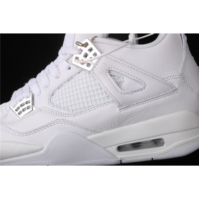 Men & Women Air Jordan4 Retro PureMoney In White