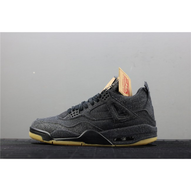 Men & Women Levis x Air Jordan 4 In Black