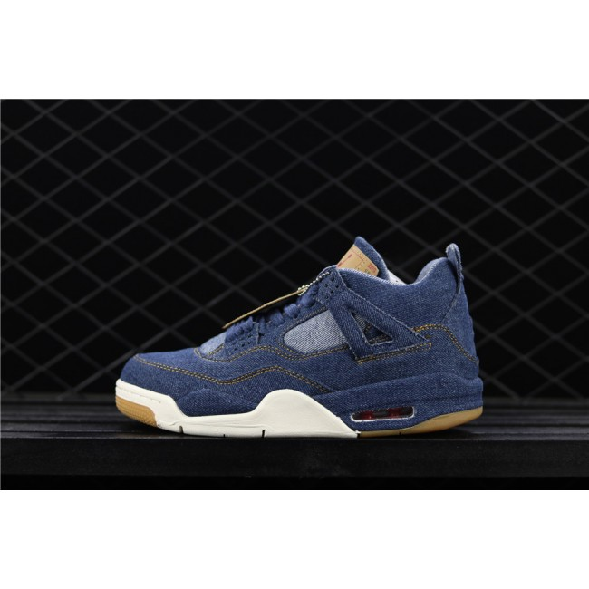 Men & Women Levis x Air Jordan 4 In Blue