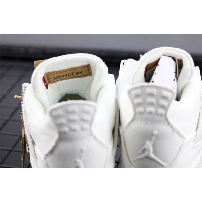 Men & Women Levis x Air Jordan 4 In White