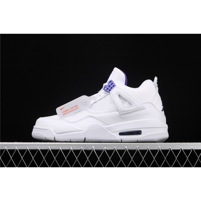 Men Air Jordan 4 In White Court Purple