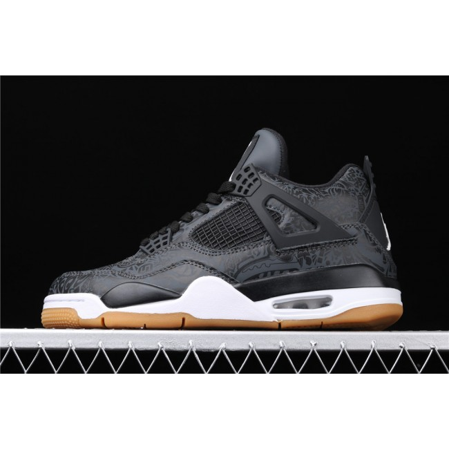 Men Air Jordan 4 Laser 3M In Black
