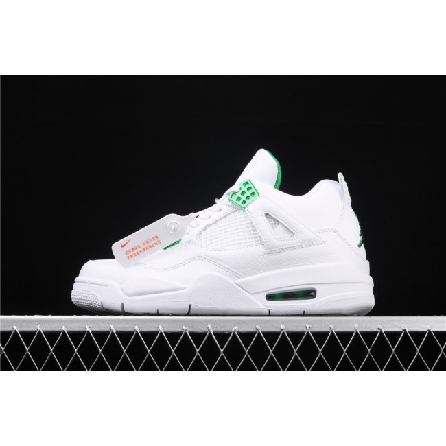 Men Air Jordan 4 Pine Green Flight In White