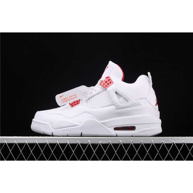 Men Air Jordan 4 Red Metallic Flight In White