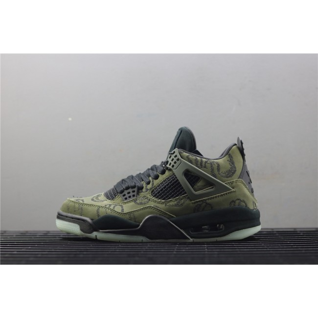 Men Air Jordan 4 Retro Embroidery In Army Green