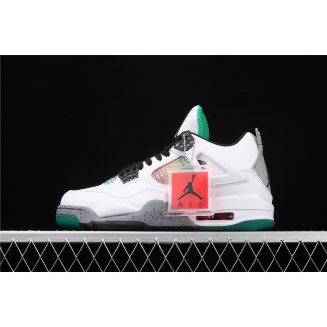 Men Air Jordan 4 WMNS Do the Right Thing In White Green Gray