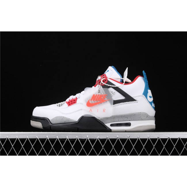 Men Air Jordan 4 What The Flight In White Blue Gray
