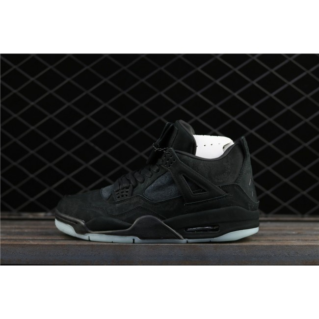 Men Kaws x Air Jordan 4 Black In Dark Green Luminous