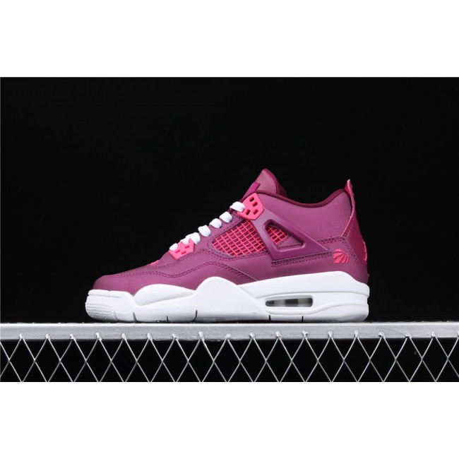 Women Air Jordan 4 Retro Brand Lover In Purple Red