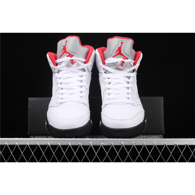 Men Air Jordan 5 Fire Red Black White