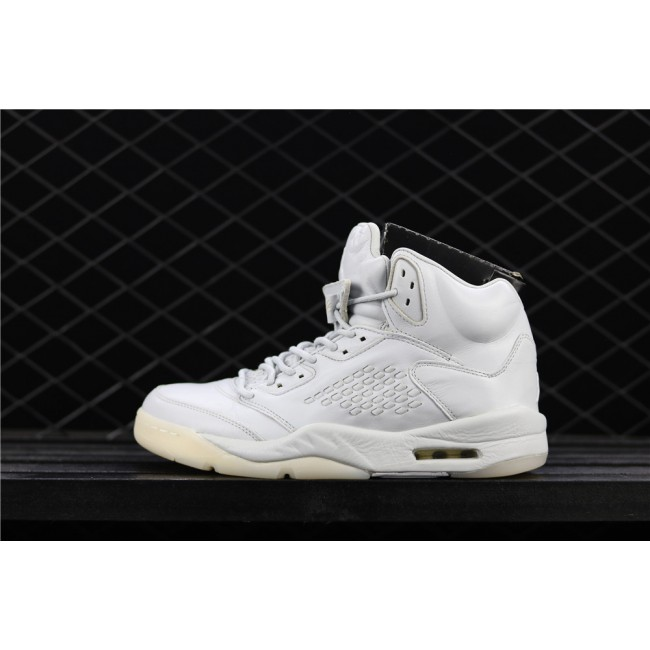 Men Air Jordan 5 Premium Full White