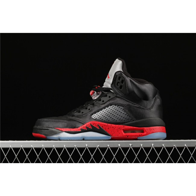 Men Air Jordan 5 Satin Bred Black Red