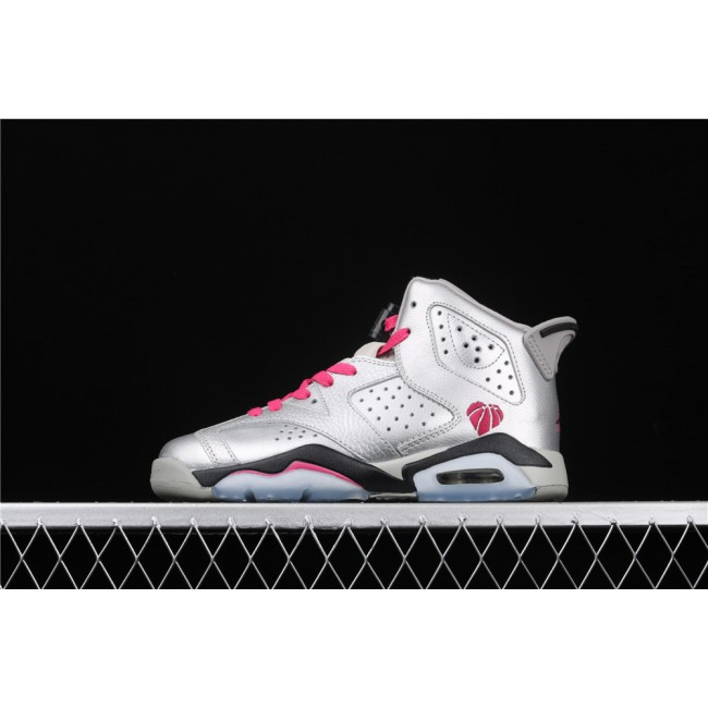 Women Air Jordan 6 GS Valentines Day In Silver
