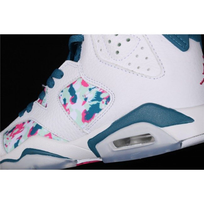 Women Air Jordan 6 Retro GS Green Abyss In White