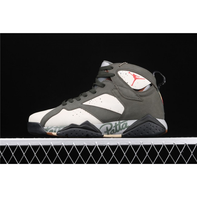 Men Air Jordan 7 Patta Dark Green Graffiti