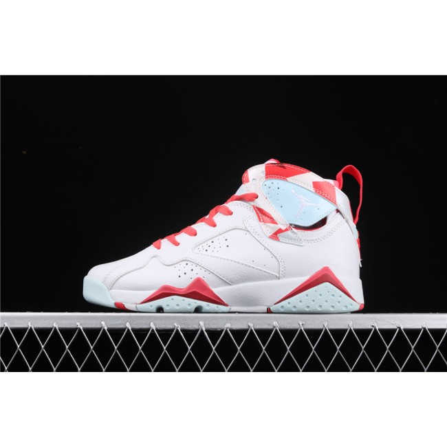 Women Air Jordan7 Topaz Mist GS White Red